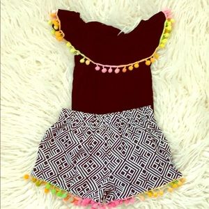 Other - 3T Pom Pom top and shorts set